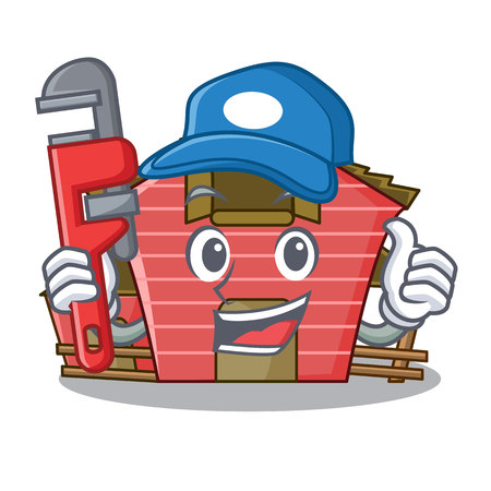 Plumber red storage barn isolated on mascot vector illustration