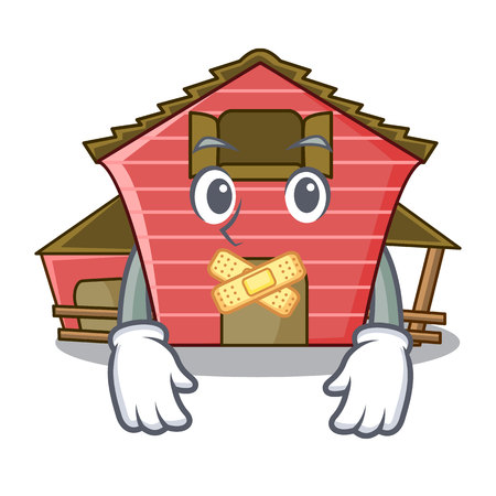 Silent red storage barn isolated on mascot vector illustration Illustration