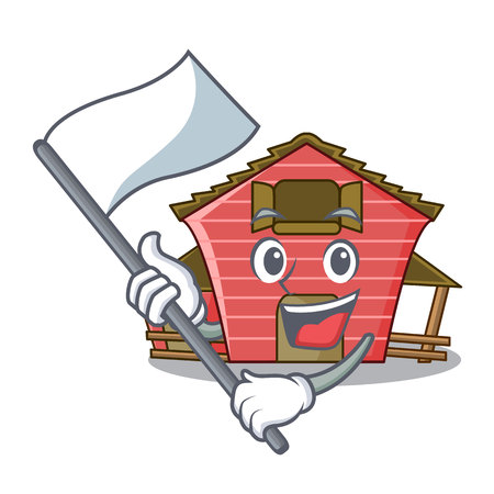 With flag red storage barn isolated on mascot vector illustration