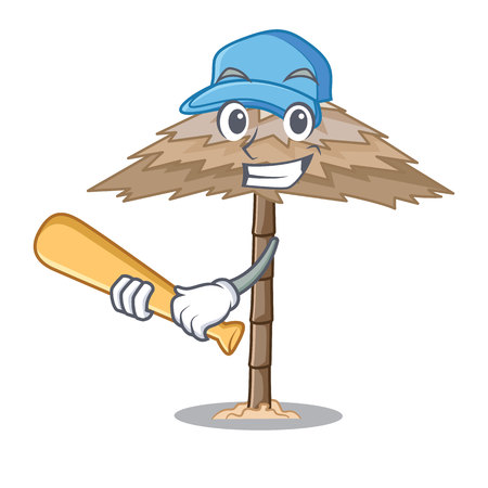 Playing baseball beach shelter buildings with palm cartoon vector illustration