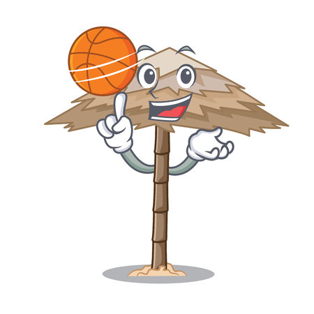 With basketball beach shelter buildings with palm cartoon vector illustration Illustration