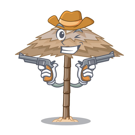 Cowboy beach shelter buildings with palm cartoon vector illustration