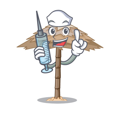 Nurse character tropical sand beach shelter resort vector illustration Illustration