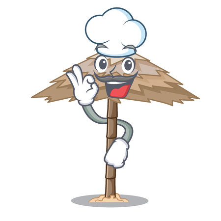 Chef character tropical sand beach shelter resort vector illustration