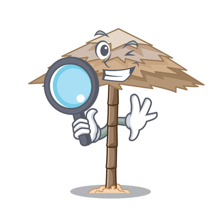 Detective character tropical sand beach shelter resort vector illustration 일러스트