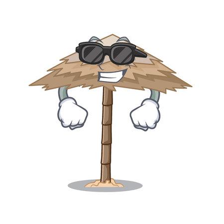 Super cool character tropical sand beach shelter resort vector illustration Illustration