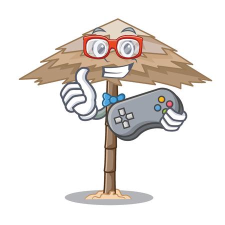 Gamer beach shelter under the umbrella cartoon vector illustration