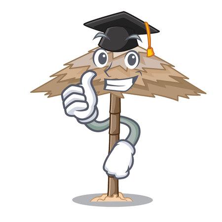 Graduation character tropical sand beach shelter resort vector illustration Illustration