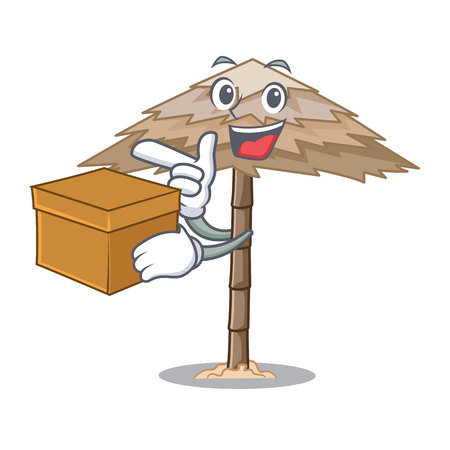 With box character tropical sand beach shelter resort vector illustration