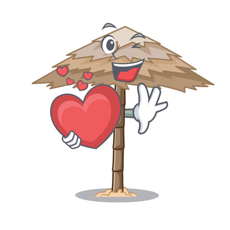 With heart beach shelter under the umbrella cartoon vector illustration