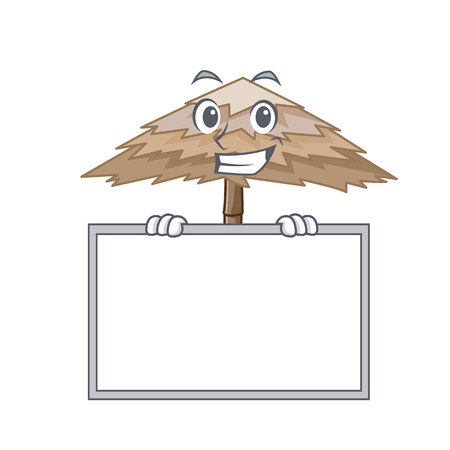 Grinning with board beach shelter buildings with palm cartoon vector illustration Illustration