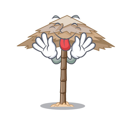 Tongue out beautiful beach shelter sand isolated cartoon vector illustration 일러스트