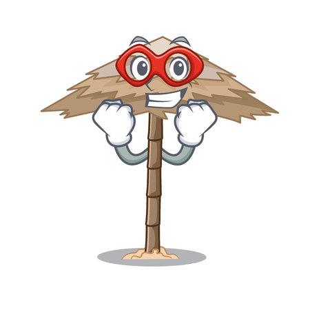 Super hero character tropical sand beach shelter resort vector illustration