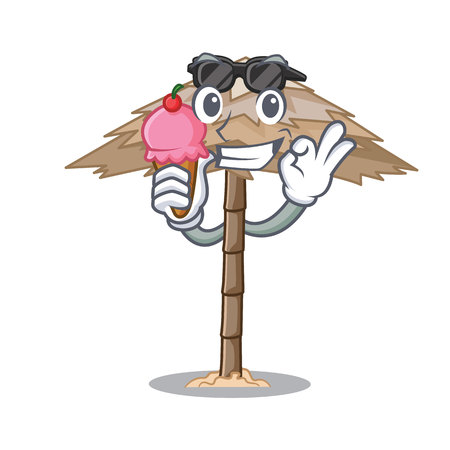 With ice cream character tropical sand beach shelter resort vector illustration