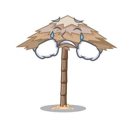 Crying beach shelter under the umbrella cartoon vector illustration