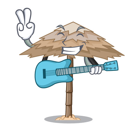With guitar beach shelter under the umbrella cartoon vector illustration