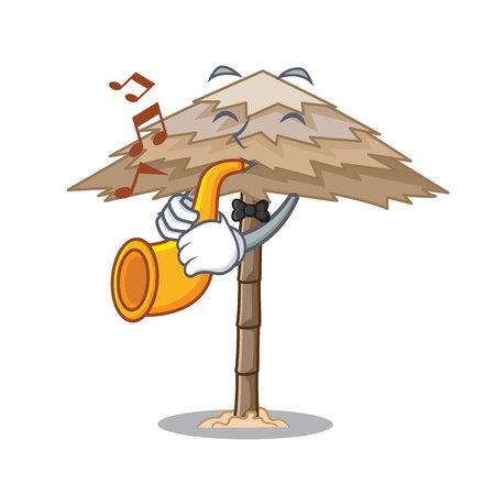 With trumpet beach shelter under the umbrella cartoon vector illustration