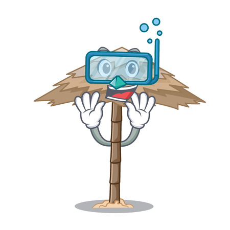 Diving character tropical sand beach shelter resort vector illustration