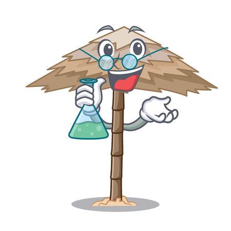 Professor character tropical sand beach shelter resort vector illustration 일러스트