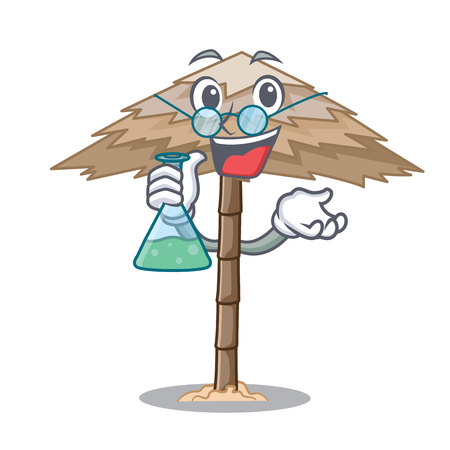 Professor character tropical sand beach shelter resort vector illustration Illustration