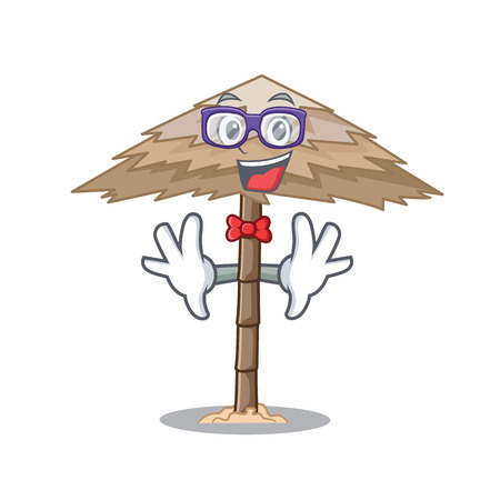 Geek character tropical sand beach shelter resort vector illustration