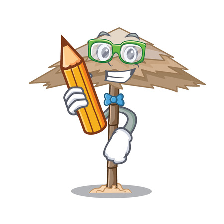 Student character tropical sand beach shelter resort vector illustration