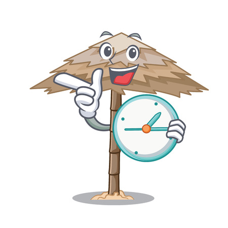 With clock character tropical sand beach shelter resort vector illustration