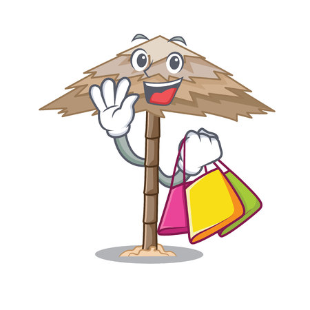 Shopping character tropical sand beach shelter resort vector illustration