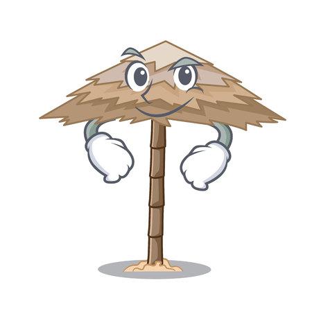 Smirking character tropical sand beach shelter resort vector illustration