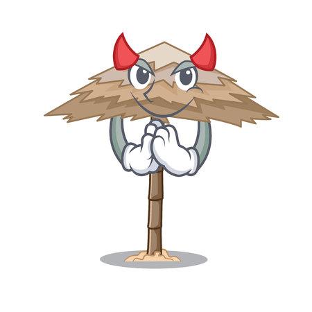 Devil beach shelter under the umbrella cartoon vector illustration 일러스트