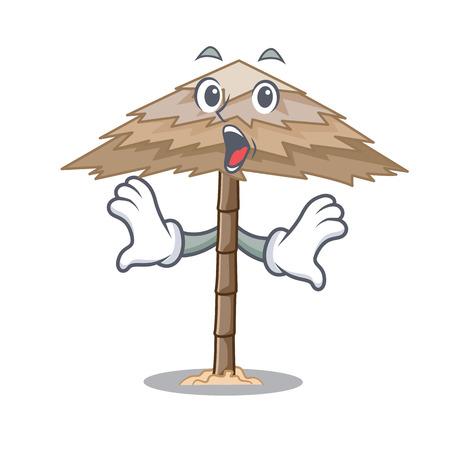 Surprised beach shelter under the umbrella cartoon vector illustration