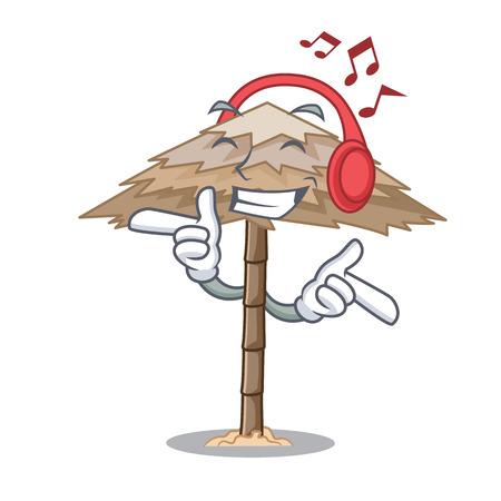 Listening music beach shelter under the umbrella cartoon vector illustration