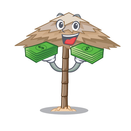 With money beach shelter under the umbrella cartoon vector illustration