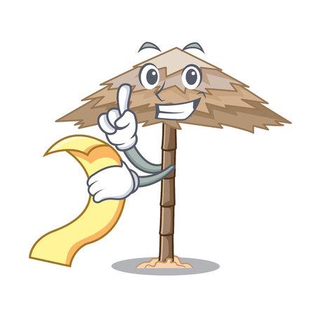 With menu beach shelter under the umbrella cartoon vector illustration Illustration