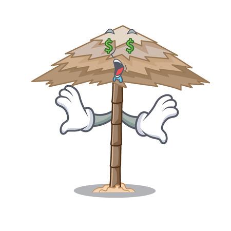 Money eye beautiful beach shelter sand isolated cartoon vector illustration