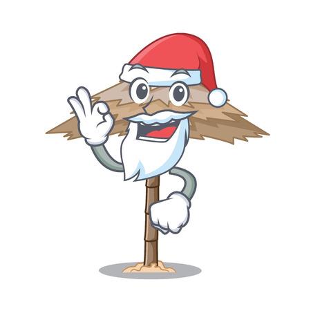 Santa beautiful beach shelter sand isolated cartoon vector illustration 일러스트