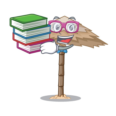 Student with book beautiful beach shelter sand isolated cartoon vector illustration Illustration