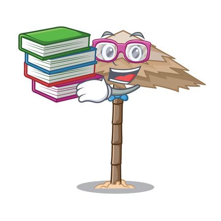 Student with book beautiful beach shelter sand isolated cartoon vector illustration 일러스트