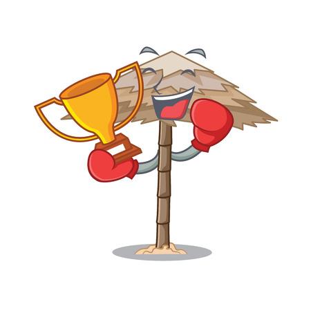 Boxing winner beautiful beach shelter sand isolated cartoon vector illustration