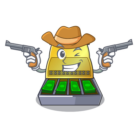 Cowboy electronic cash register isolated on a cartoon Stock Vector - 107421931