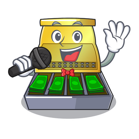 Singing cash register with LCD display cartoon vector illustration