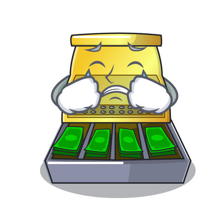 Crying cash register with LCD display cartoon vector illustration