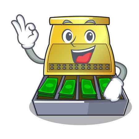 Okay cartoon vintage cash register front view vector illustration Ilustração Vetorial
