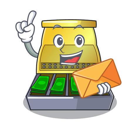 With envelope cartoon vintage cash register front view vector illustration Illustration