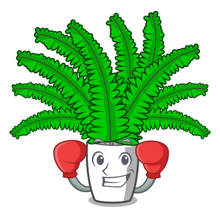 Boxing fern frond frame decoration on cartoon vector illustration