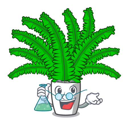 Professor beautiful cartoon ferns in green foliage vector ilustration
