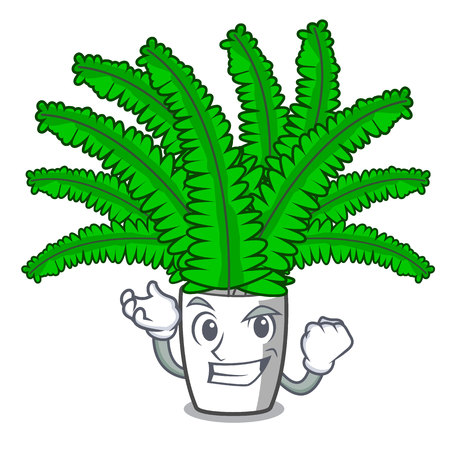 Successful beautiful cartoon ferns in green foliage vector ilustration
