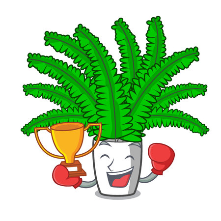 Boxing winner fresh fern branch isolated on mascot vector illustration Çizim