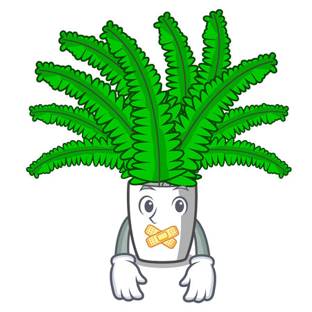 Silent fresh fern branch isolated on mascot vector illustration Ilustração