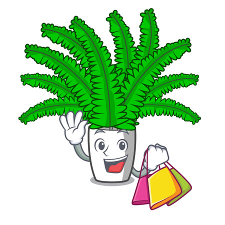 Shopping beautiful cartoon ferns in green foliage vector ilustration